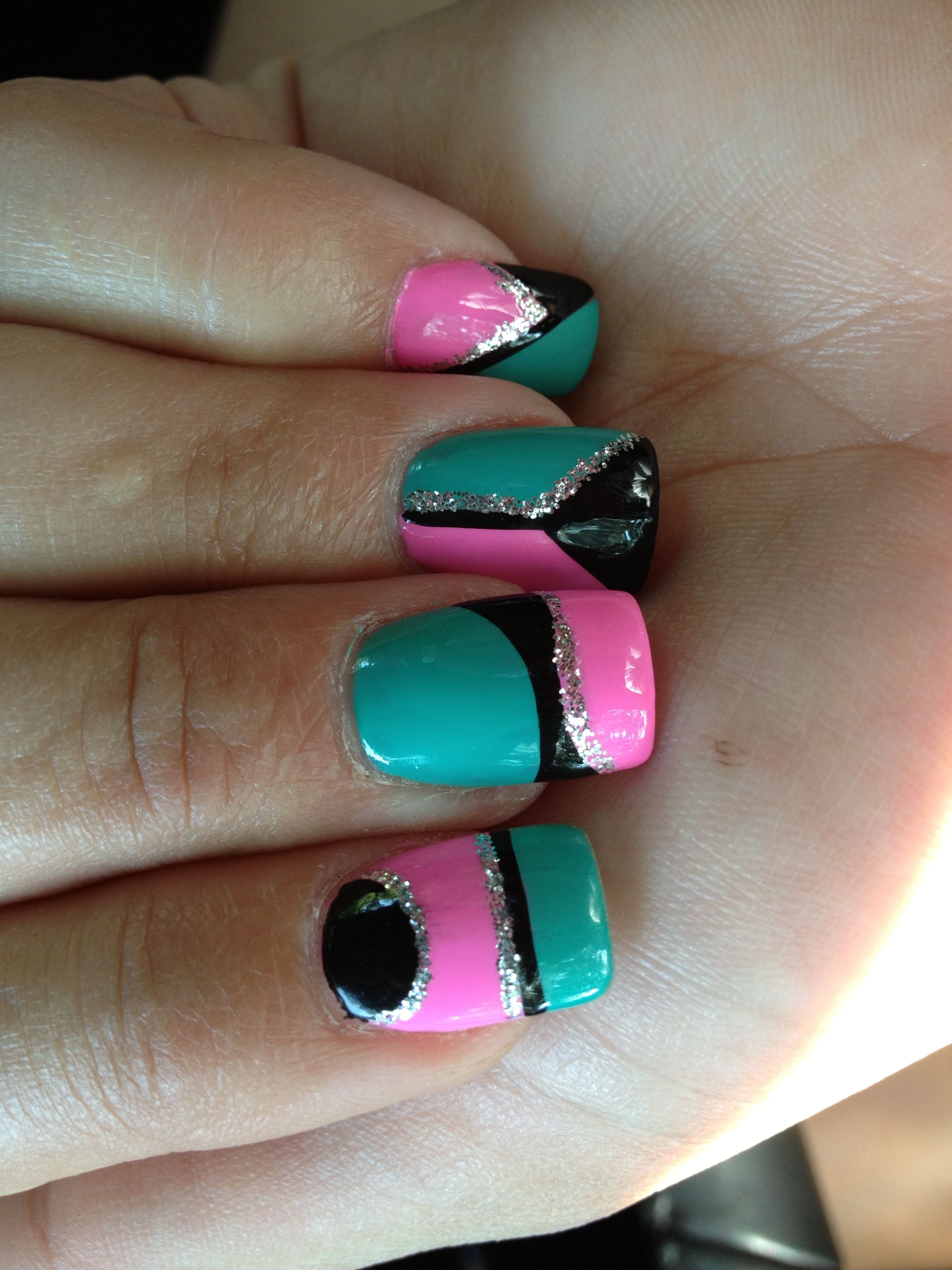 pink teal and black abstract nails