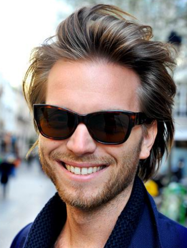 Medium Long Length With Smooth Hair Pulled Back Men That