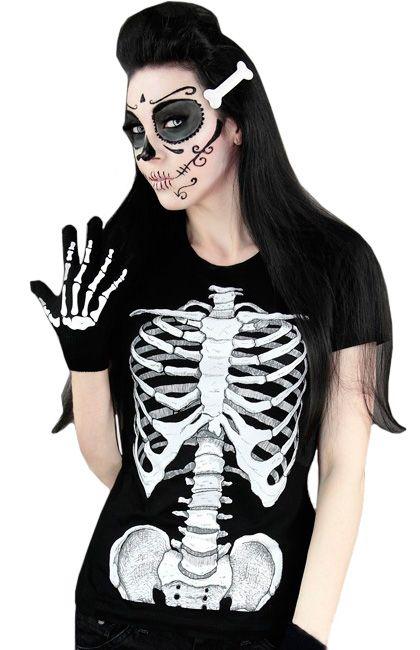 It Esqueleto HalloweenRock Camiseta Mujer Disfraz f7Ygvyb6
