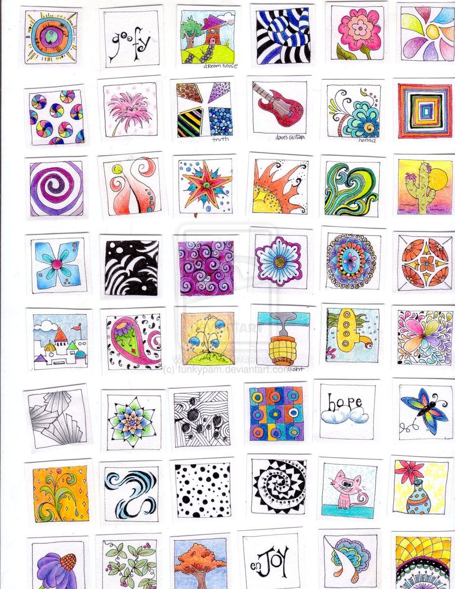 inchies by funkypam colorful zentangle tiles words u doodles