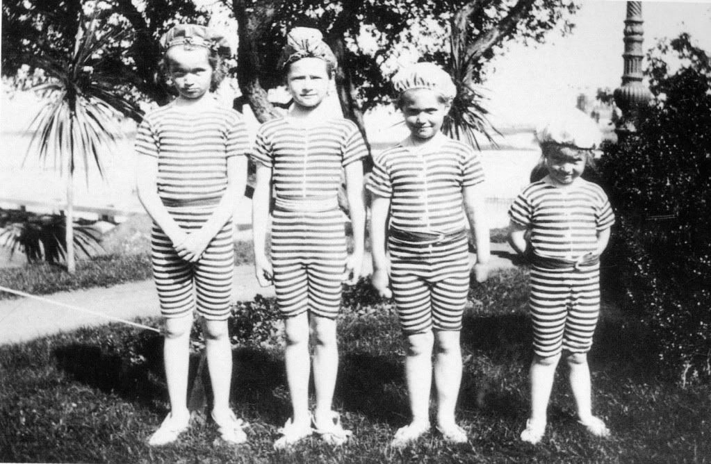 Nicholas II's four daughters in swimming gear. Too cute for words.