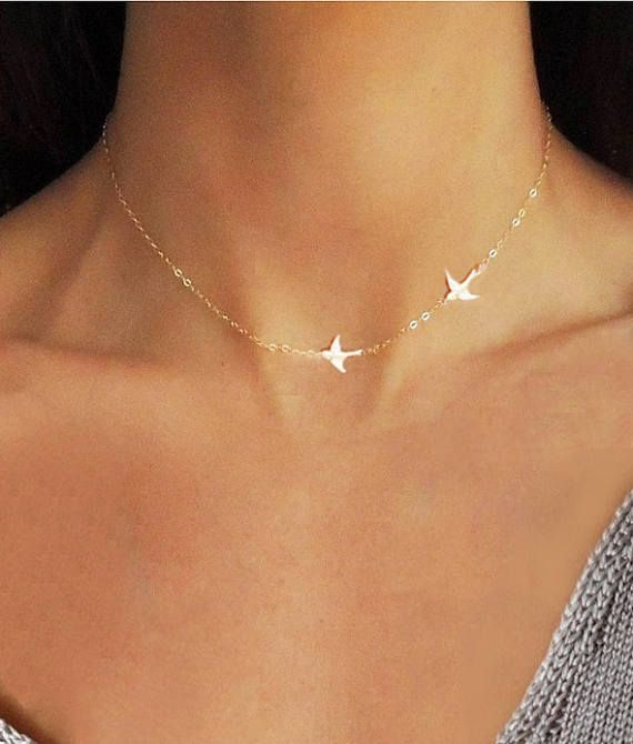 Photo of Gift For Women, Bird Necklace, Animal Necklace, Dainty Necklace, Tiny Gold Necklace, Gold Necklace, Tiny Necklace, Bird Choker, Gift for Her