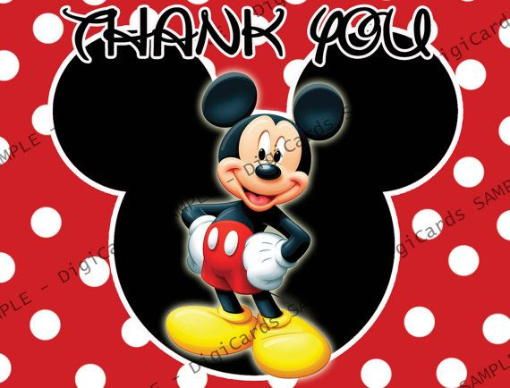 Mickey Mouse Thank You Card By Digicards On Etsy 4 99 Digicards