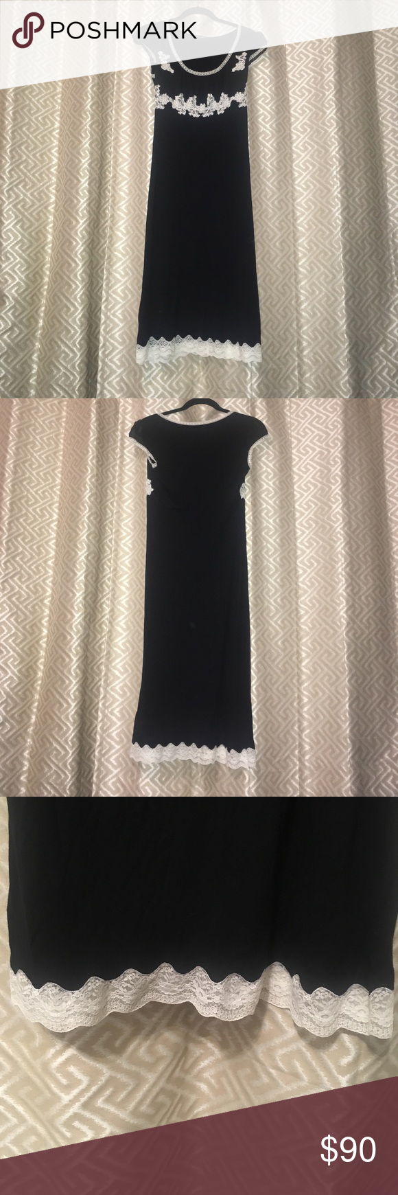 Betsey Johnson black dress with lace appliqués 42 inches long Betsey Johnson dress from the 90s. So soft with lace appliqués and sheer sleeve help create the  perfect piece for a romantic night! Betsey Johnson Dresses Midi
