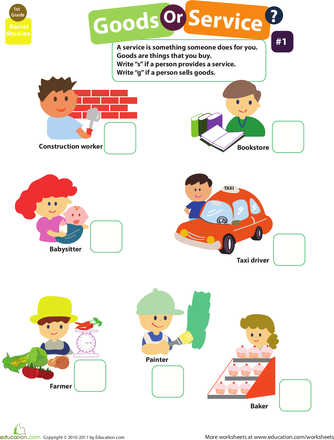 Goods And Services 1 Worksheets Homework And Social Studies