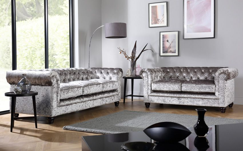 Hampton Silver Crushed Velvet 3 2 Seater Chesterfield Sofa