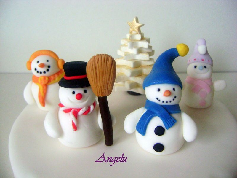 bonhommes de neige en p te sucre snowmen clay crafts. Black Bedroom Furniture Sets. Home Design Ideas