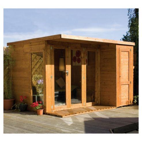 Mercia large combi wooden summerhouse 10x8ft tesco for Garden shed tesco