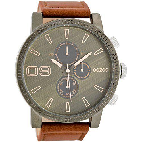 Oozoo Herrenuhr mit Lederband 50 MM Graubraun/Rotbraun C7490 - http://herrentaschenkaufen.de/oozoo/oozoo-herrenuhr-mit-lederband-50-mm-graubraun