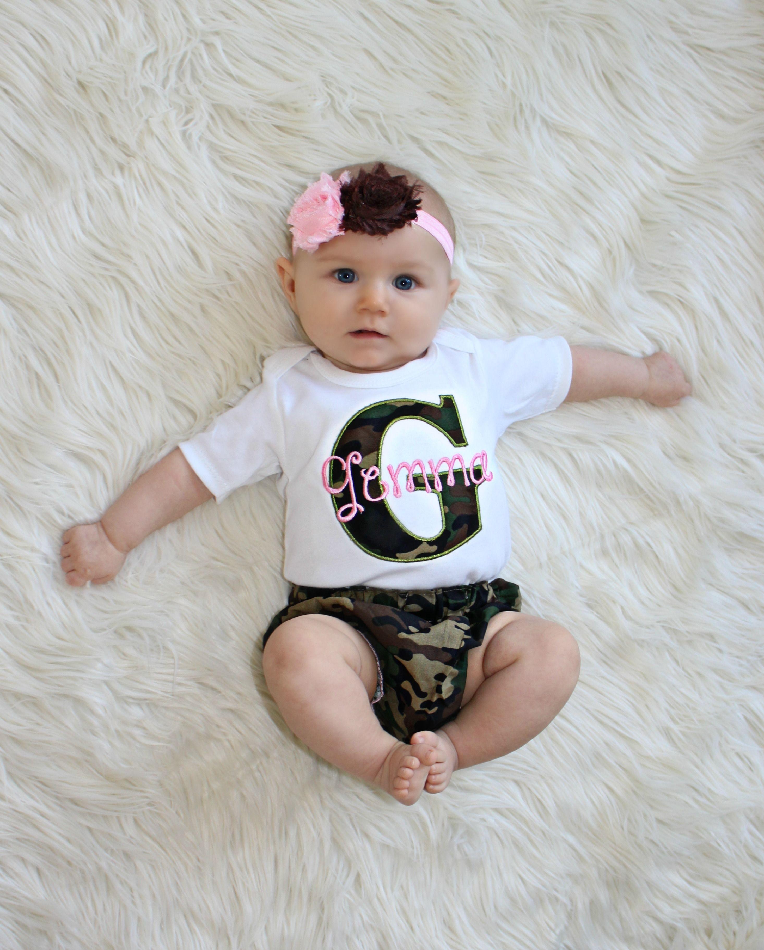0c8328e43 Camo Baby Girl Clothes Pink & Camo Diaper Cover Personalized Camo Outfit