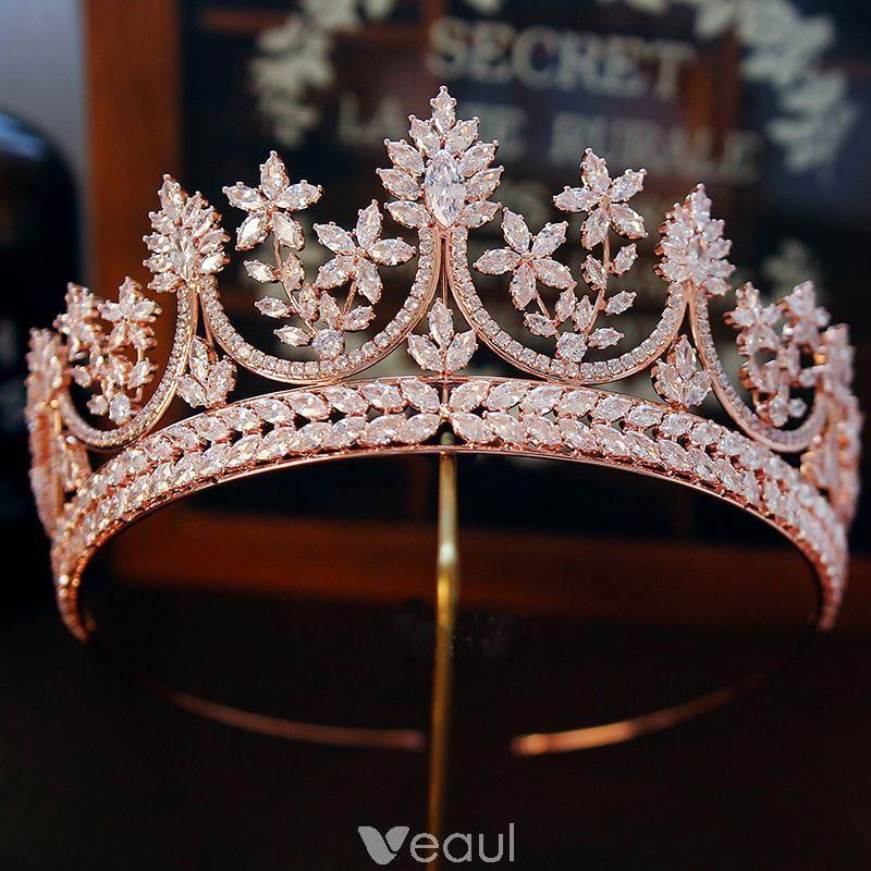 Luxury / Gorgeous Gold Rhinestone Tiara Accessories 2019 Metal Bridal Hair Accessories