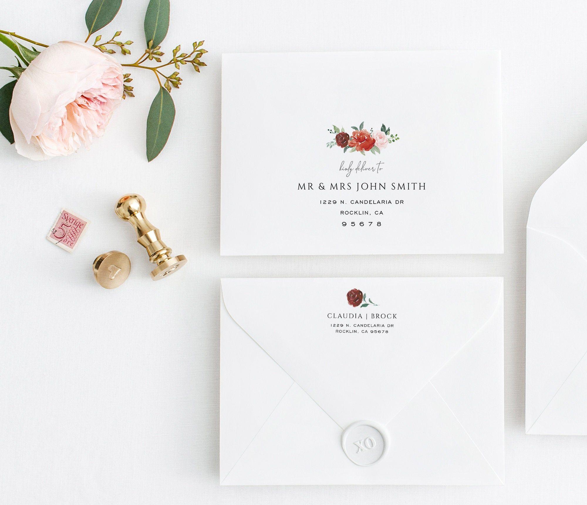Red Burgundy Flower Envelope Template Envelope Printable Etsy Wedding Envelopes Envelope Template Burgundy Flowers