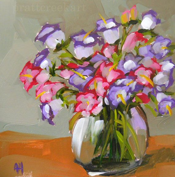 Pink And Purple Campanula Flowers In Vase Original Flower Oil Painting On Panel By Moulton 8 X 8 Inches Prattcr Flower Painting Flower Art Oil Painting Flowers