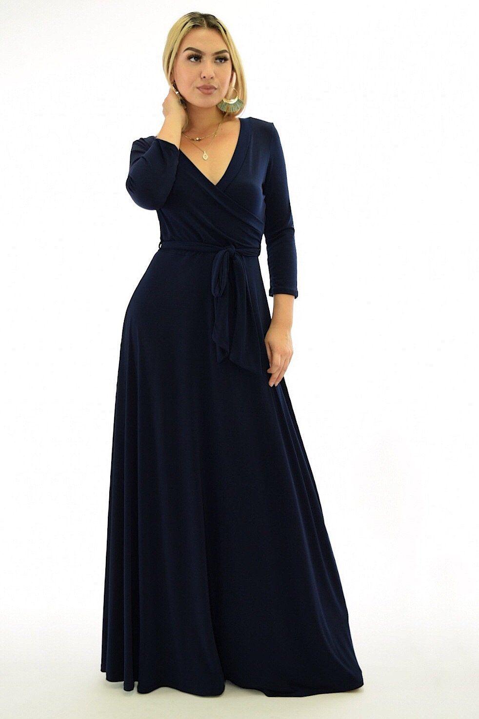 Angelina 34 sleeve navy blue flowy maxi dress flowy