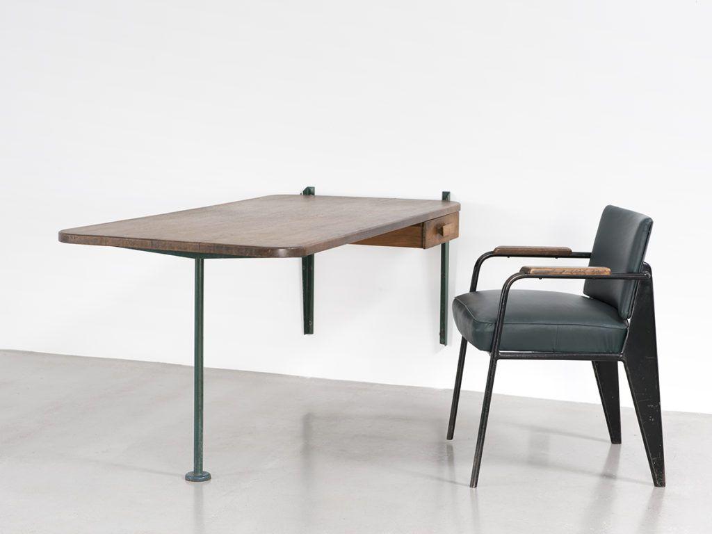 Jean Prouve Table Relevable Avec Tiroir 1943 Galerie Patrick Seguin Table Relevable Mobilier Design Mobilier De Salon