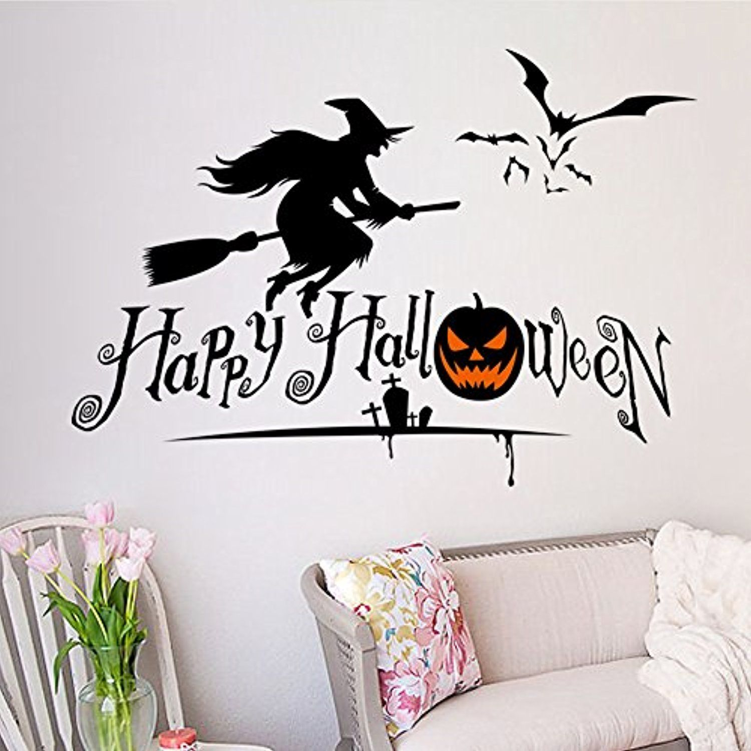 CaseFan Halloween Party Supplies Decorations Halloween Wall Stickers - halloween window decor