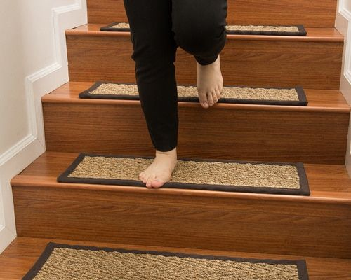 Best Beach Seagrass Moss Border Handmade Stair Treads Carpet 400 x 300