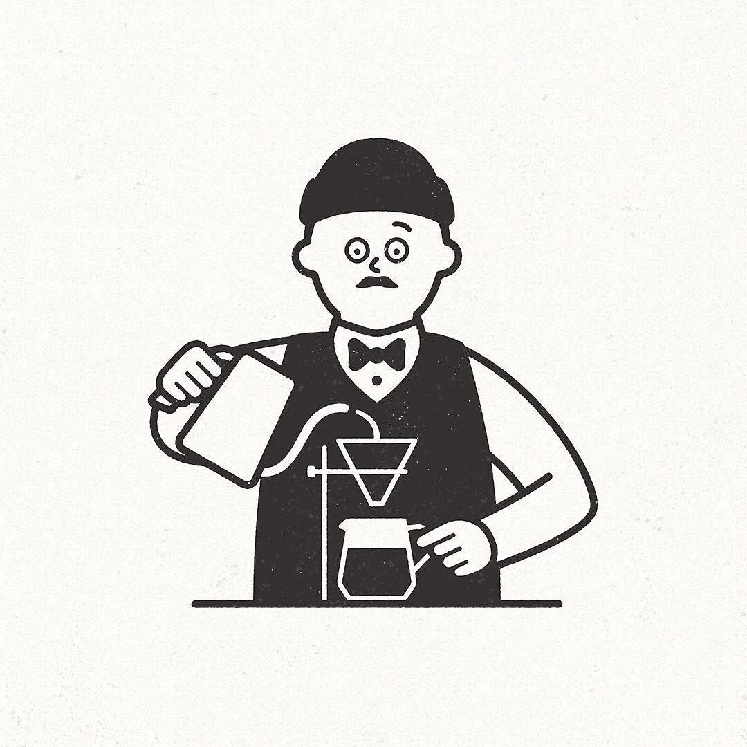 Making Coffee Coffee Cafe コーヒー カフェ Seijimatsumoto 松本セイジ ネズミ イラスト ユニークな絵 コーヒーのイラスト