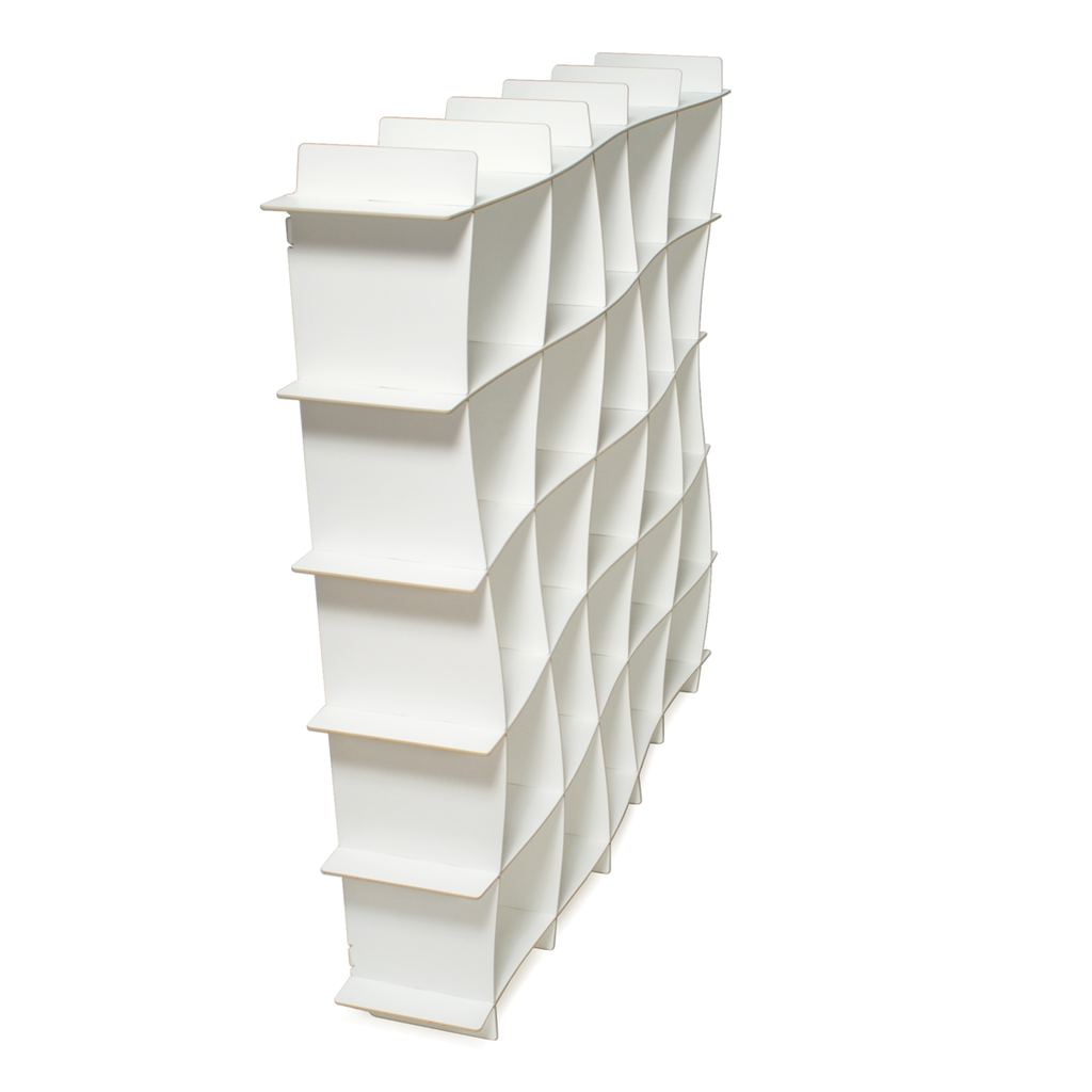 25 cubby wave modern bookcase white