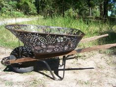 "Folk Art Hand Cut w Plasma Cutter Floral Wheelbarrow Flowers Primitive | eBay. ""only"" $500 :)"