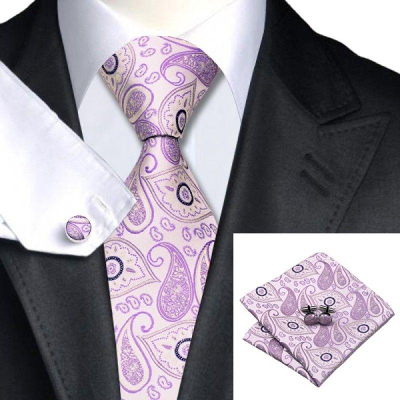 Сиреневый галстук с платком и запонками - купить в Киеве и Украине по недорогой цене, интернет-магазин