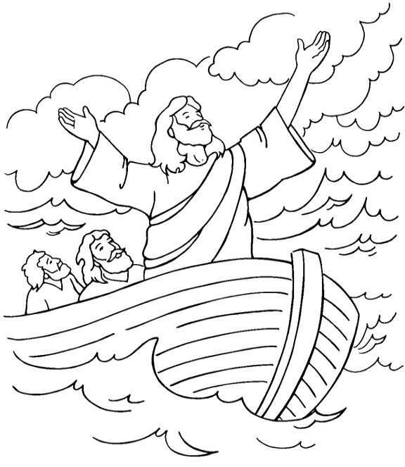 Jesus calms the storm coloring page | children\'s church activities ...