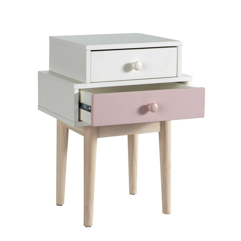 2 Drawers White And Pink Bedside Table In 2020 Wooden Bedside
