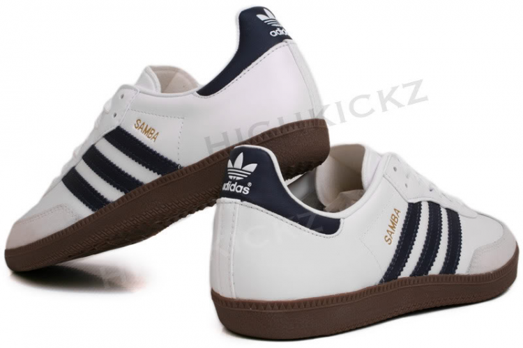 sports shoes 033f5 d300d ADIDAS Samba G17102 White   Navy The legendary soccer silhouette with a retro  heart and soul goes au courant, thanks to a splash o…   For Me Feet   Adida…