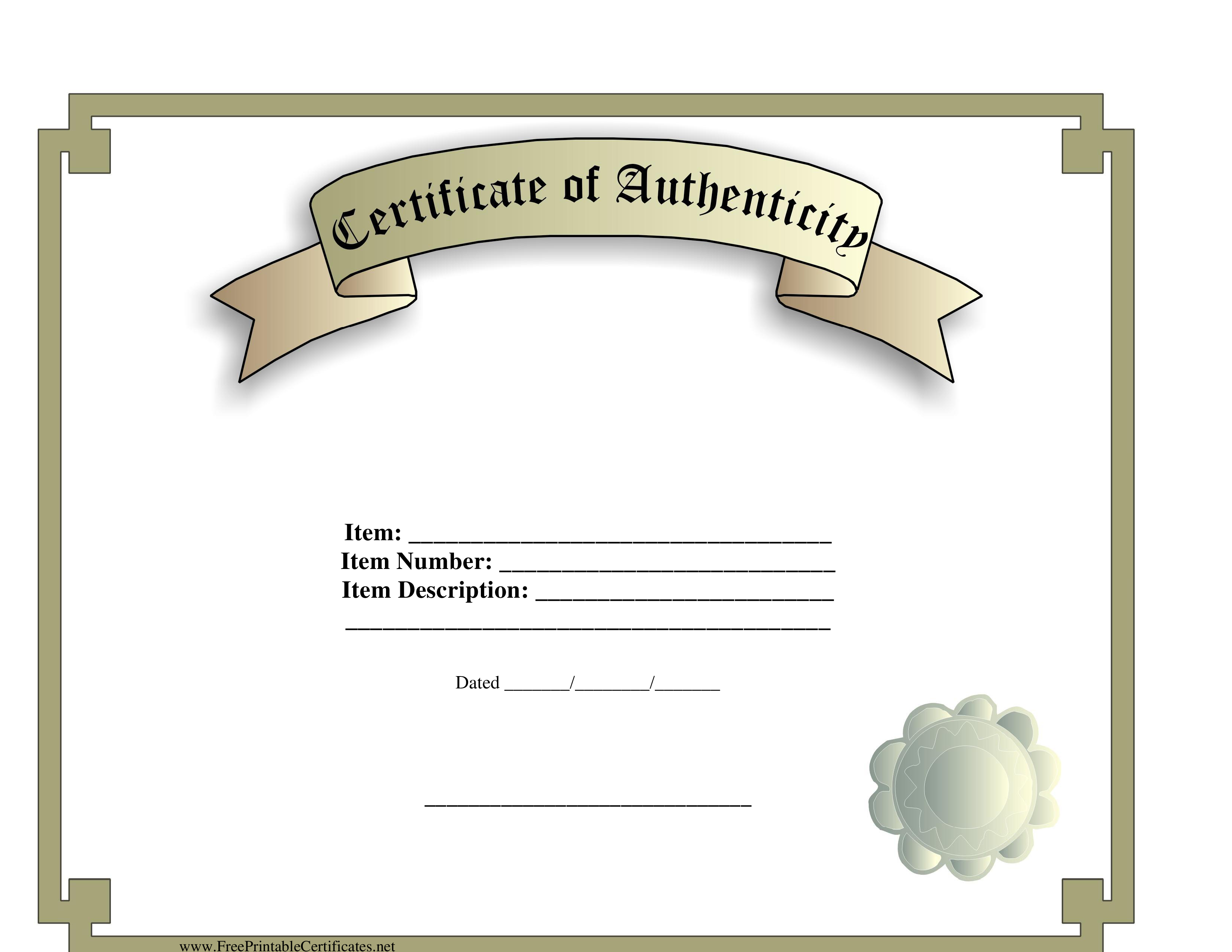 Certificate Of Authenticity Template Are You Drafting A Certificate Of Authenticity Then We S Certificate Templates Business Template Printable Certificates