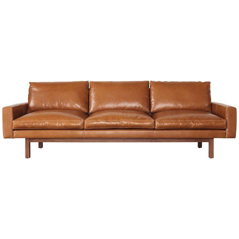 Contemporary Extra Large Standard Sofa In Caramel Leather With