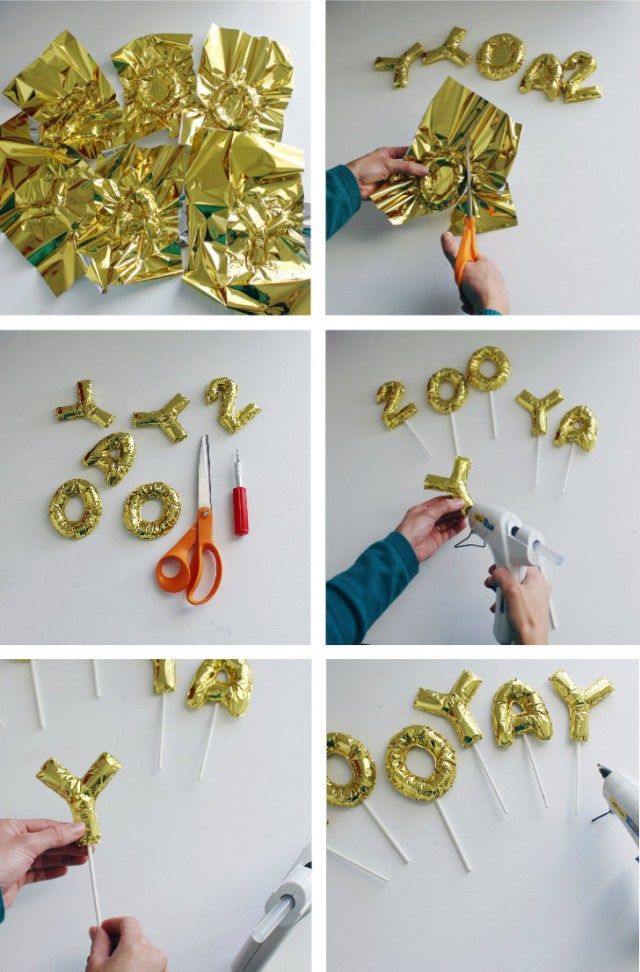 DIY Mini Foil Letter Balloon Cake Toppers