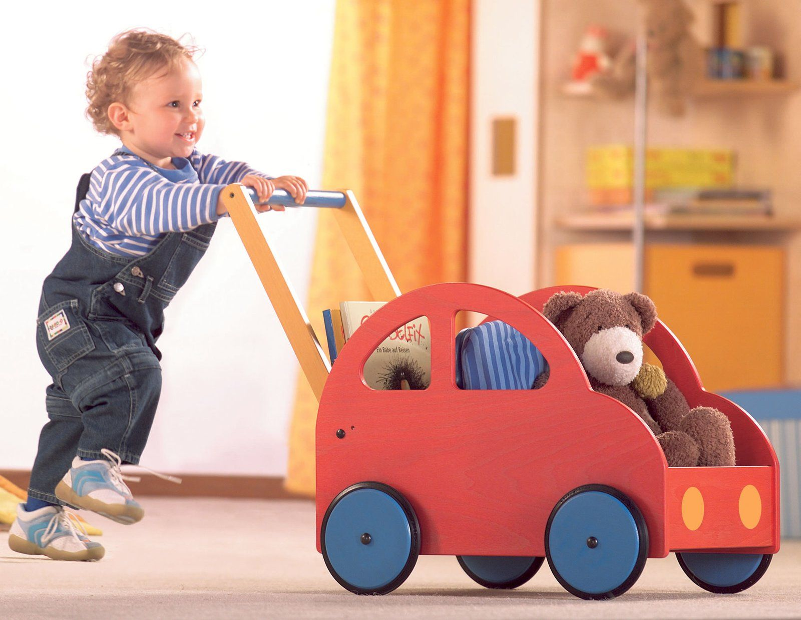 Push Toys For Toddlers : Haba pushing car made in germany of beechwood plywood