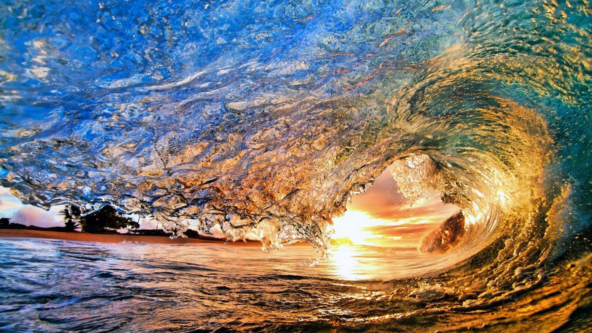 Sunset Time Desktop Backgrounds in 2020 Waves wallpaper