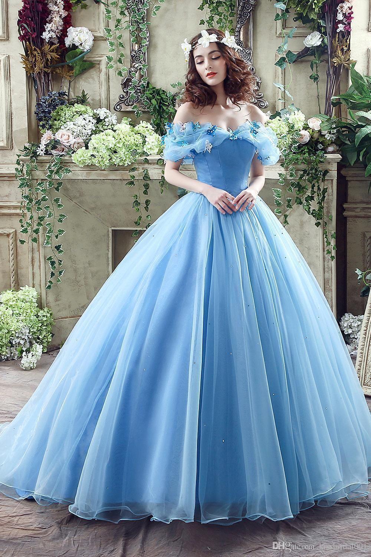 Prom dresslight blue prom dressball gown prom dresseslong elegant