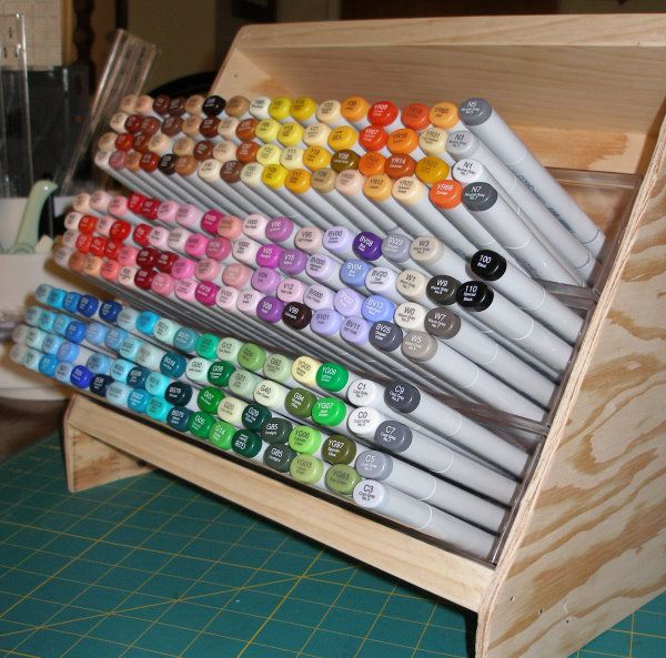 Copic Marker Storage By Ahlers5 Cards And Paper Crafts At Splitcoaststampers Marker Storage Pencil Storage Craft Room Storage
