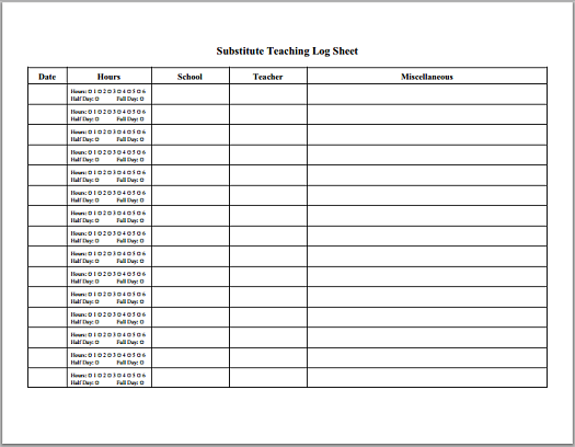 Substitute Teaching Daily Log  Free To Print Pdf File  K