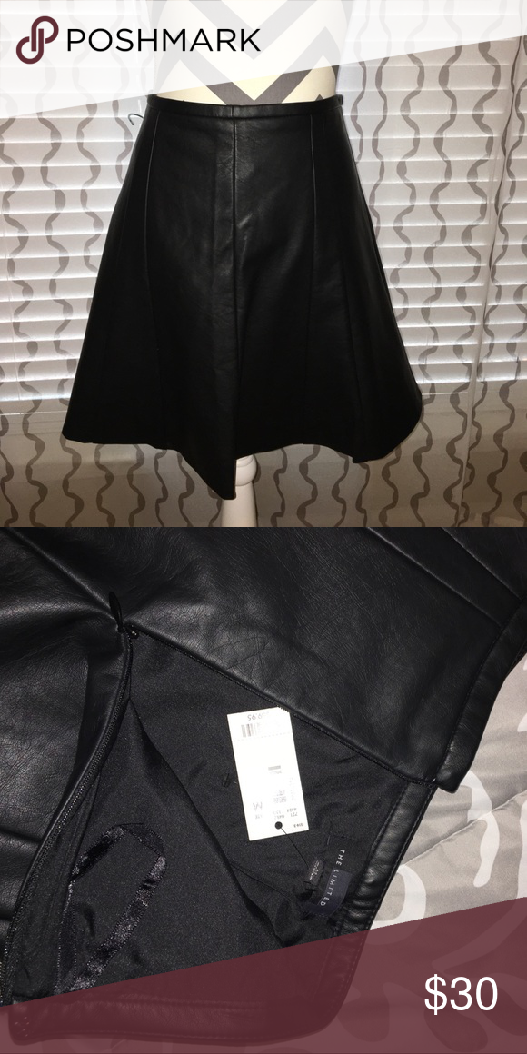 NWT Faux Leather Skirt A-line, Faux Leather, lined. The Limited Skirts A-Line or Full