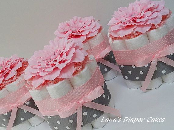Four pink and gray flowers mini diaper cake baby shower for Pink diaper bouquet