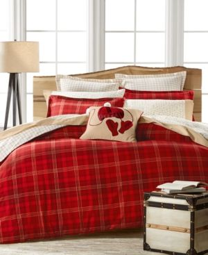 Closeout! Martha Stewart Collection Appleton Plaid Flannel Full/Queen Duvet Cover, Only at Macy's - Red