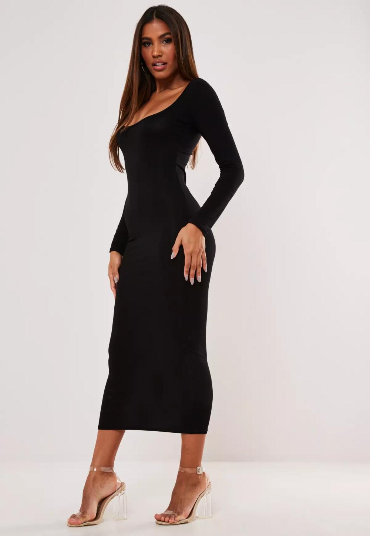 Black Scoop Neck Long Sleeve Midi Dress Missguided Long Black Midi Dress Long Midi Dress Long Sleeve Midi Dress [ 1449 x 1000 Pixel ]