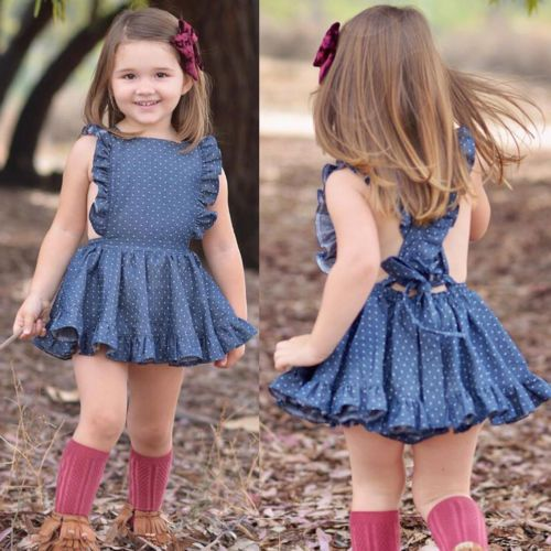 Newborn Baby Girls Summer Blue Dot Sleeveless Princess Party Dress Back Cross Backless Party Dress 1-6T