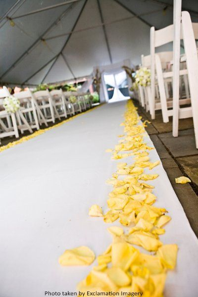 Sunny yellow rose petals line this white wedding ceremony aisle at Holiday Inn…