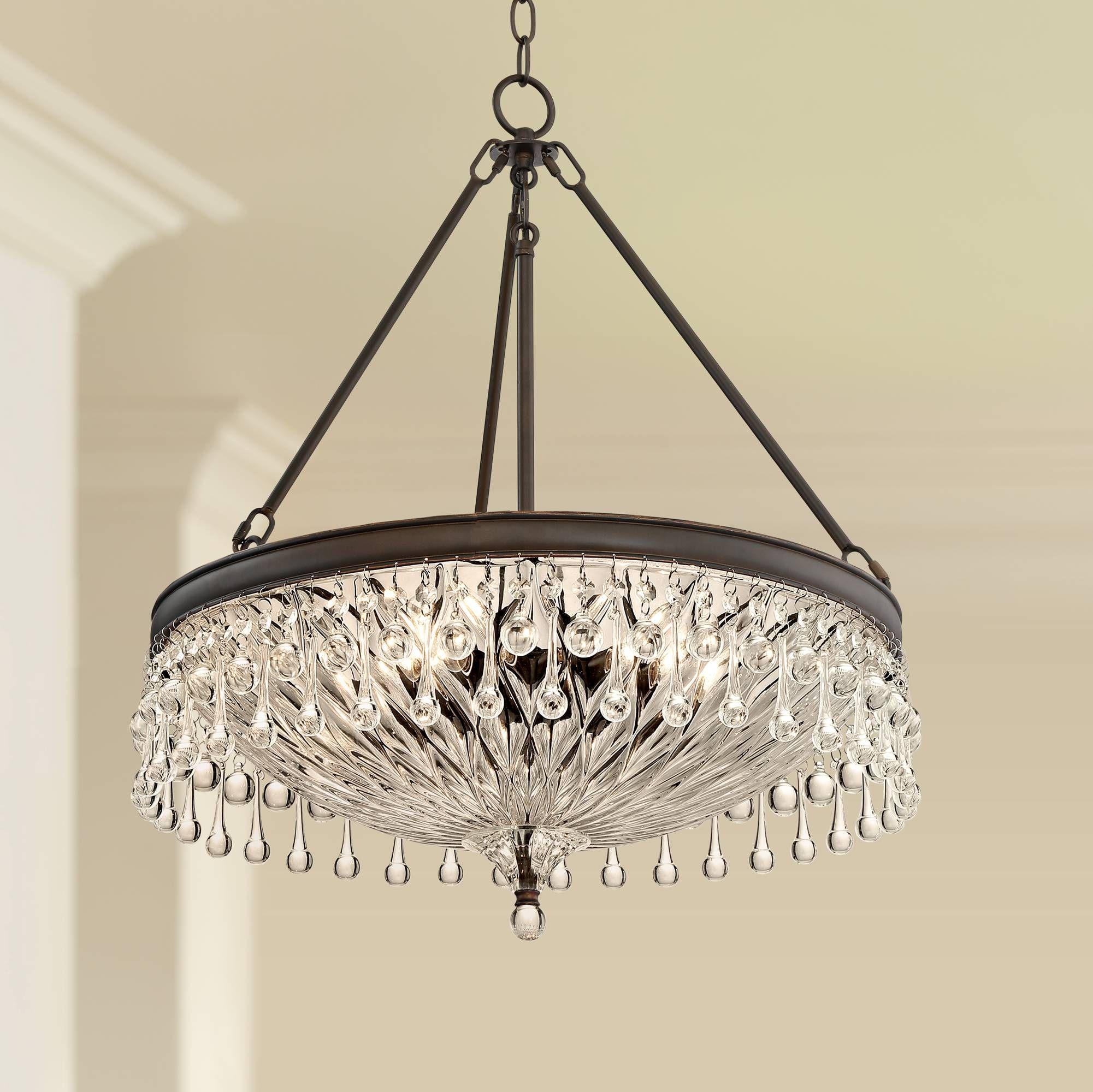Macey 20 1 4 Wide Bronze Crystal Chandelier 15e92 Lamps Plus Bronze Chandelier Crystal Chandelier Chandelier Lighting Fixtures