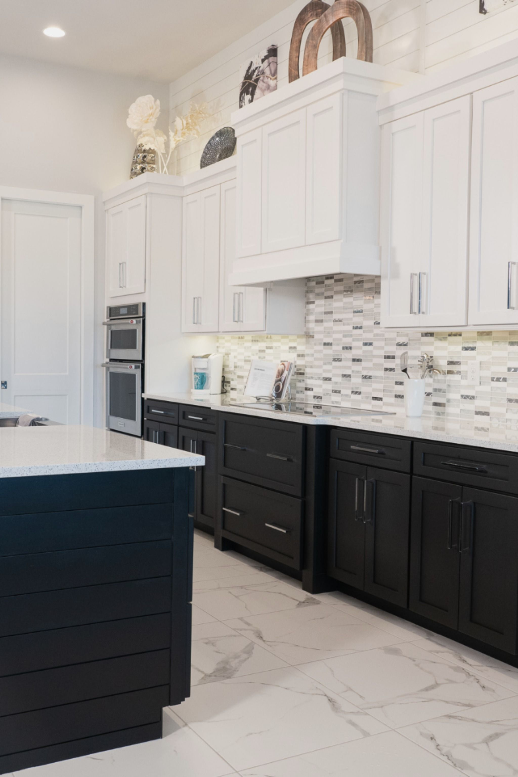 This Modern Tuxedo Kitchen Features Shiplap Both On The Island And Above The Cabinets In 2020 Modern Kitchen Trends Modern Kitchen Cabinets Kitchen Furniture Storage