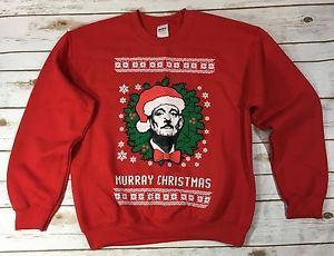 New Mens Xl Bill Murray Christmas Red Sweatshirt Crewneck Ugly Party