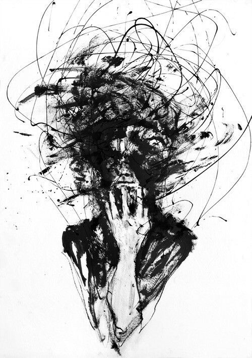 Emotional Lines In Art : Art dark deep depression paint person who