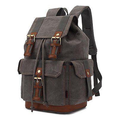 d6fd96ca8c90 Bag · KAUKKO Rugged Canvas Backpack Satchel Leather Trim ...