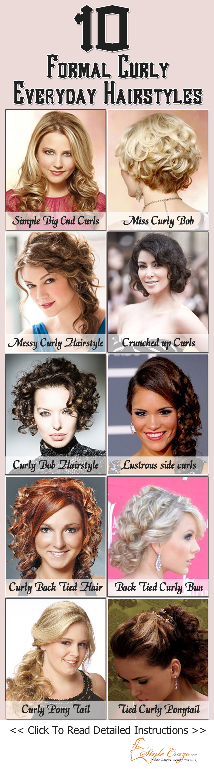 formal curly everyday hairstyles curly hair pinterest