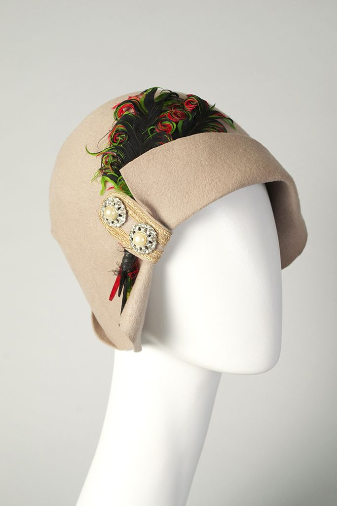 """Accessory of the day: Light taupe felt cloche with feather trim, American, late 1920s, KSUM 1991.10.5. This beautiful hat is currently included in our exhibition """"Flapper Style"""""""
