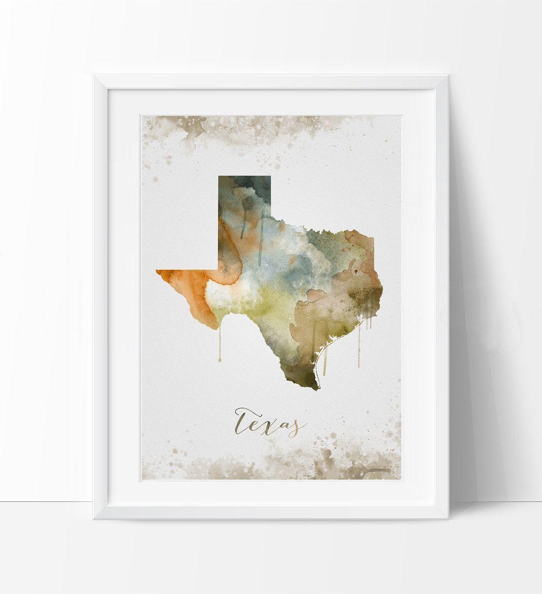 Texas Wall Art Art Print Texas Decor Texas Map Art Watercolor State Watercolor Texas Print Artwork 287 Texas Wall Art Texas Map Art Map Art